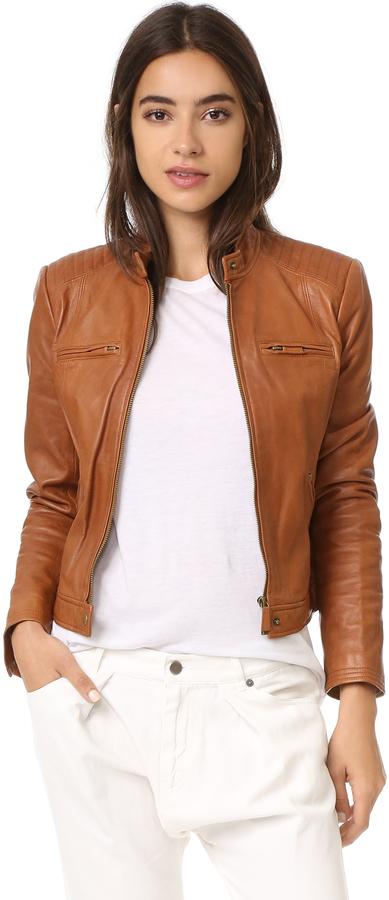 a162fbf9ed2 ... Женская коричневая кожаная куртка от Joie ...