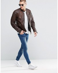 83e13ea12b6 ... Мужская коричневая кожаная куртка от Pepe Jeans