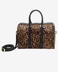 Коричневая кожаная спортивная сумка с леопардовым принтом