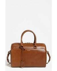 Коричневая кожаная спортивная сумка