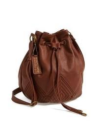 Коричневая кожаная сумка-мешок