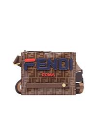 Коричневая кожаная сумка почтальона с принтом от Fendi