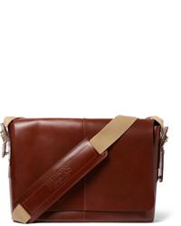 Мужская коричневая кожаная сумка почтальона