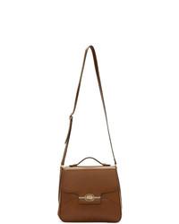Коричневая кожаная сумка почтальона от Gucci