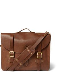 Мужская коричневая кожаная сумка почтальона от J.Crew