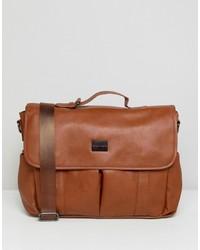 Мужская коричневая кожаная сумка почтальона от Peter Werth