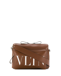 Коричневая кожаная сумка почтальона от Valentino