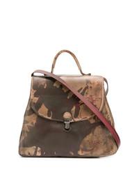 Коричневая кожаная сумка-саквояж с принтом от Cherevichkiotvichki