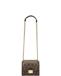 Коричневая кожаная сумка-саквояж с принтом от Fendi