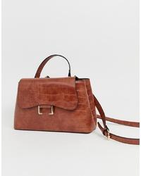 Коричневая кожаная сумка-саквояж от ASOS DESIGN