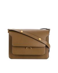 Коричневая кожаная сумка-саквояж от Marni