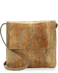 Коричневая кожаная сумка через плечо со змеиным рисунком