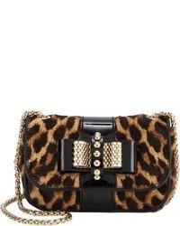 Коричневая кожаная сумка через плечо с леопардовым принтом