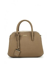 Женская коричневая кожаная сумка через плечо от DKNY