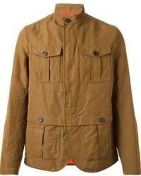Коричневая куртка в стиле милитари
