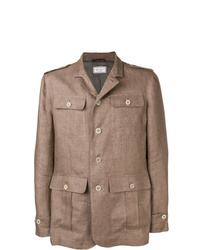 Мужская коричневая куртка-рубашка от Brunello Cucinelli