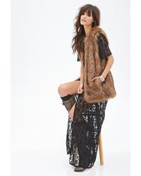 Женская коричневая меховая безрукавка от Forever 21