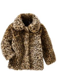 Коричневая меховая куртка с леопардовым принтом
