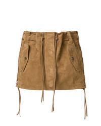 Коричневая мини-юбка от Saint Laurent