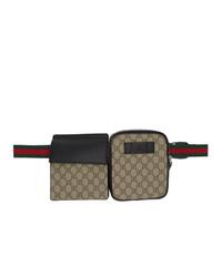 Мужская коричневая поясная сумка из плотной ткани с принтом от Gucci