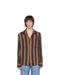Коричневая рубашка с длинным рукавом в вертикальную полоску