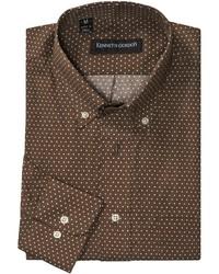 Коричневая рубашка с длинным рукавом в горошек