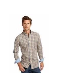 Коричневая рубашка с длинным рукавом в шотландскую клетку