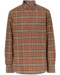 Мужская коричневая рубашка с длинным рукавом в шотландскую клетку от Burberry