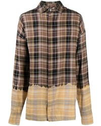 Мужская коричневая рубашка с длинным рукавом в шотландскую клетку от Palm Angels