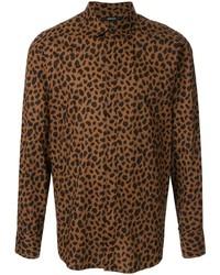 Мужская коричневая рубашка с длинным рукавом с леопардовым принтом от Loveless