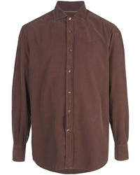 Мужская коричневая рубашка с длинным рукавом от Brunello Cucinelli