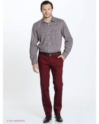 Мужская коричневая рубашка с длинным рукавом от Conti Uomo