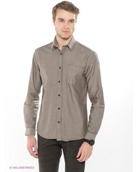 Мужская коричневая рубашка с длинным рукавом от Selected
