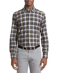 Коричневая фланелевая рубашка с длинным рукавом в шотландскую клетку