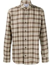 Мужская коричневая фланелевая рубашка с длинным рукавом в шотландскую клетку от Eleventy