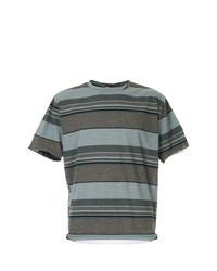 Коричневая футболка с круглым вырезом в горизонтальную полоску