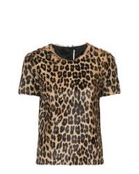 Коричневая футболка с круглым вырезом с леопардовым принтом