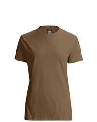 Коричневая футболка с круглым вырезом