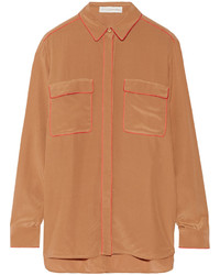 Коричневая шелковая классическая рубашка