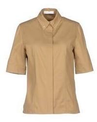 Коричневая шелковая рубашка с коротким рукавом