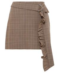 Коричневая шерстяная мини-юбка