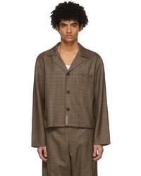 """Коричневая шерстяная рубашка с длинным рукавом с узором """"гусиные лапки"""""""