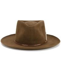 Мужская коричневая шерстяная шляпа