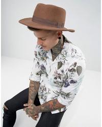 Мужская коричневая шерстяная шляпа от ASOS DESIGN