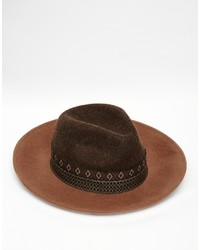 Мужская коричневая шерстяная шляпа от Asos