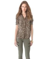 Коричневая шифоновая блуза на пуговицах с леопардовым принтом