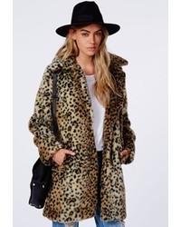 Женская коричневая шуба с леопардовым принтом от Missguided