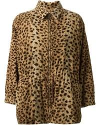 Женская коричневая шуба с леопардовым принтом от Saint Laurent