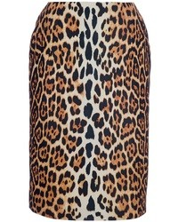 Коричневая юбка-карандаш с леопардовым принтом