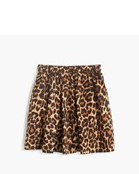 Коричневая юбка с леопардовым принтом